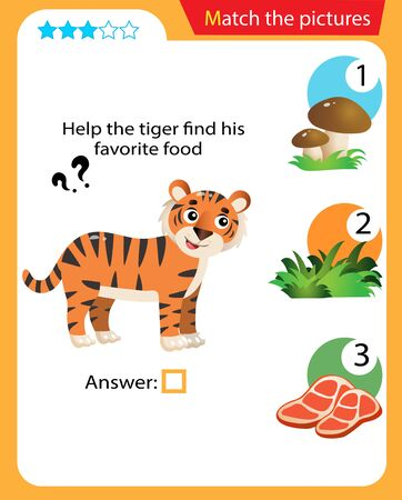 Matching game, education game for children. Puzzle for kids. Match the right object. Help the tiger find his favorite food.