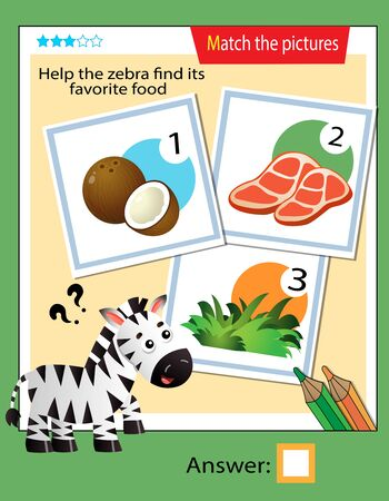 Matching game, education game for children. Puzzle for kids. Match the right object. Help the zebra find his favorite food.