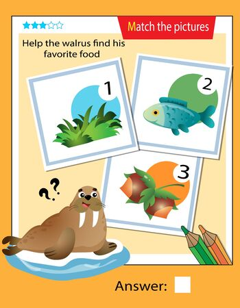 Matching game, education game for children. Puzzle for kids. Match the right object. Help the walrus or seal find his favorite food.