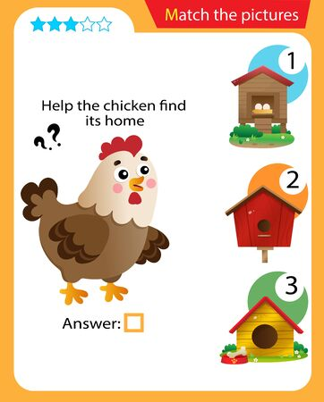 Matching game, education game for children. Puzzle for kids. Match the right object. Help the hen find its home.