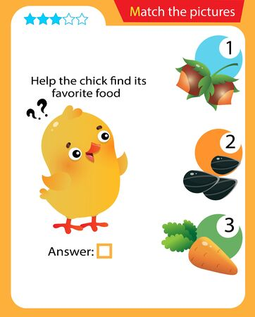 Matching game, education game for children. Puzzle for kids. Match the right object. Help the chick find its favorite food.