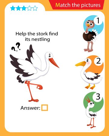 Matching game, education game for children. Puzzle for kids. Match the right object. Help the stork find its nestling.