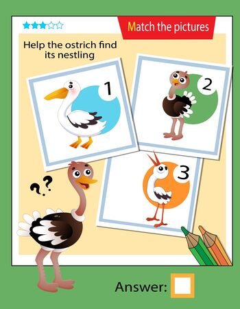 Matching game, education game for children. Puzzle for kids. Match the right object. Help the ostrich find its nestling.