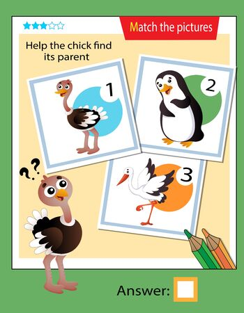 Matching game, education game for children. Puzzle for kids. Match the right object. Help the nestling find his parent. Ostrich.