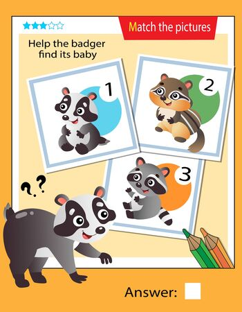 Matching game, education game for children. Puzzle for kids. Match the right object. Help the badger find his cub.
