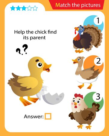 Matching game, education game for children. Puzzle for kids. Match the right object. Help the chick or nestling find its parent.