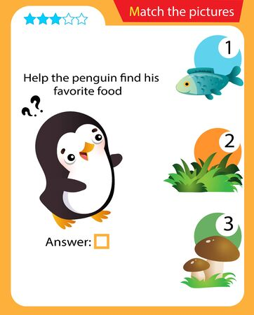 Matching game, education game for children. Puzzle for kids. Match the right object. Help the penguin find his favorite food. 일러스트