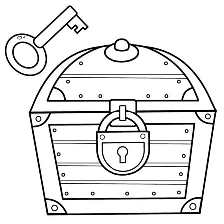 Coloring Page Outline of cartoon treasure chest with key. Closed coffer with lock. Decorative element for pirate party for kids. Coloring book for kids.