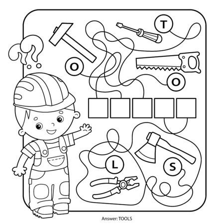 Solve the word. Maze or Labyrinth Game for Preschool Children. Puzzle. Tangled Road. Matching Game. Coloring Page Outline Of Cartoon Worker with tools. Coloring book for kids. 矢量图像