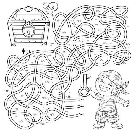 Maze or Labyrinth Game for Preschool Children. Puzzle. Tangled Road. Coloring Page Outline Of Cartoon Pirate ship with key and closed treasure chest. Coloring book for kids