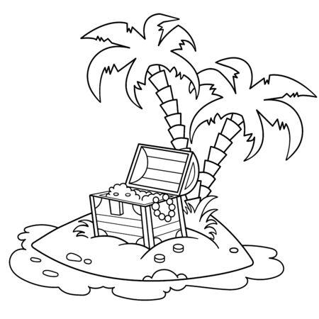 Aperçu de la page de coloriage de l'île au trésor de la bande dessinée. Livre de coloriage pour les enfants. Image vectorielle pour la fête des pirates pour les enfants.