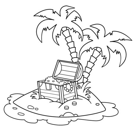 Coloring Page Outline Of Cartoon Island of treasure. Coloring book for kids. Vector image for pirate party for children.