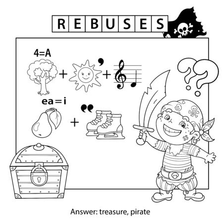 Rebus or logic puzzle game for Children. Coloring Page Outline Of Cartoon Pirate with Treasure chest. Coloring book for kids.