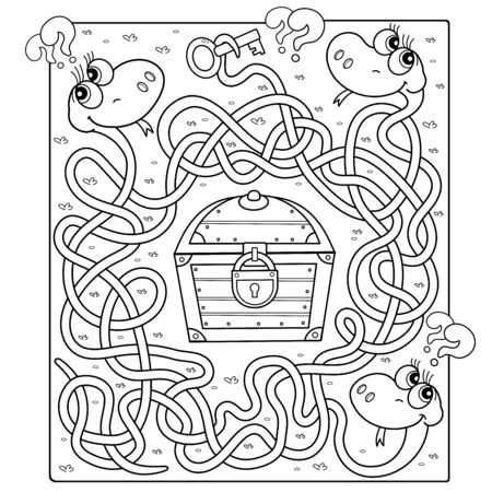 Maze or Labyrinth Game for Preschool Children. Puzzle. Tangled Road. Whose key to the treasure? Coloring Page Outline Of Cartoon Snakes with treasure chest. Coloring book for kids