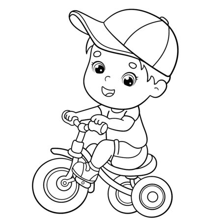 Coloring Page Outline Of a cartoon boy riding a Bicycle or bike. Coloring book for kids
