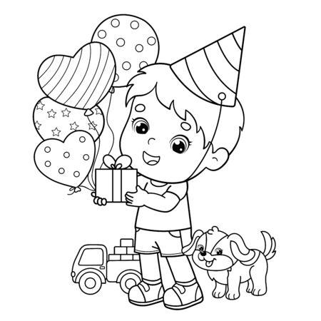 Aperçu de la page à colorier d'un garçon de dessin animé avec des cadeaux et des ballons et avec un petit chien. Anniversaire. Livre de coloriage pour les enfants Vecteurs
