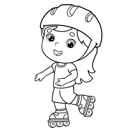 Coloring Page Outline Of cartoon girl on the roller skates. Coloring book for kids Illustration