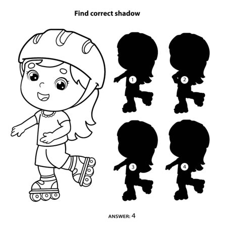 Puzzle Game for kids. Find correct shadow. Coloring Page Outline Of cartoon girl on the roller skates. Coloring book for children. Illustration