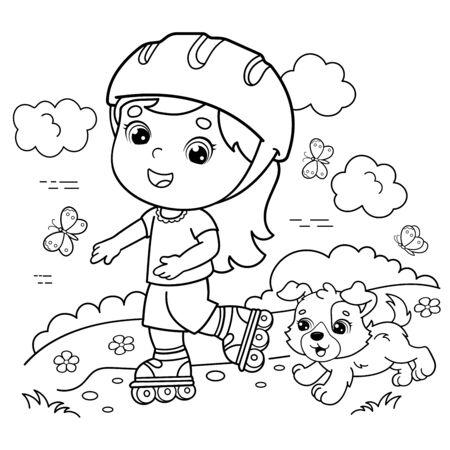Colorear el contorno de la página de la niña de dibujos animados en los patines con un perro. Libro de colorear para niños