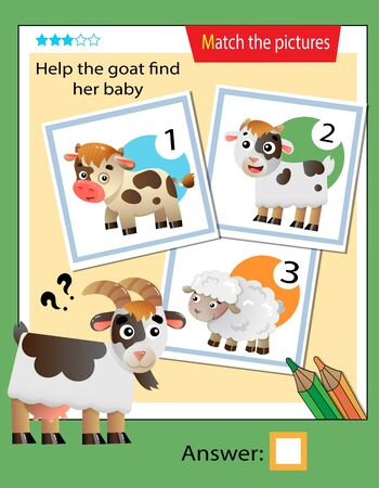 Matching game, education game for children. Puzzle for kids. Match the right object. Help the goat find its cub.