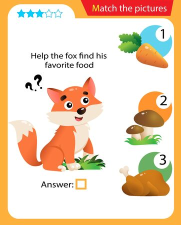Matching game, education game for children. Puzzle for kids. Match the right object. Help the fox find his favorite food.