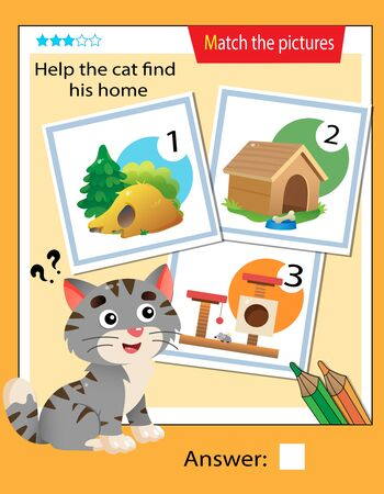 Matching game, education game for children. Puzzle for kids. Match the right object. Help the cat find his home.