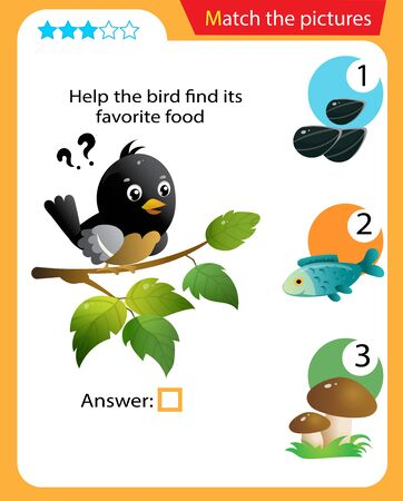 Matching game, education game for children. Puzzle for kids. Match the right object. Help the bird find its favorite food. Vektorové ilustrace