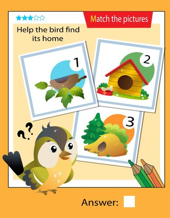 Matching game, education game for children. Puzzle for kids. Match the right object. Help the bird find its home.