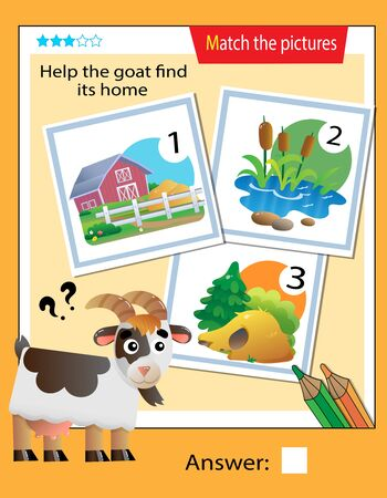 Matching game, education game for children. Puzzle for kids. Match the right object. Help the goat find its home.