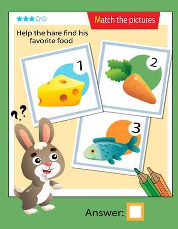 Matching game, education game for children. Puzzle for kids. Match the right object. Help the hare find his favorite food.
