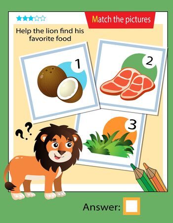 Matching game, education game for children. Puzzle for kids. Match the right object. Help the lion find his favorite food.