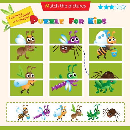 Matching game for children. Puzzle for kids. Match the right parts of the images. Insects. Ant, grasshopper, bee, dragonfly, spider, butterfly.