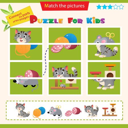 Matching game for children. Puzzle for kids. Match the right parts of the images. Pets. Cat with kitten, clockwork mouse, tangle, sausage.