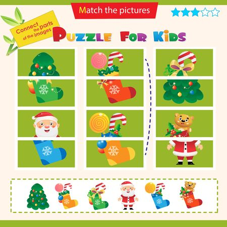 Matching game for children. Puzzle for kids. Match the right parts of the images. New year. Christmas tree with ornaments. Santa Claus. Socks, boots with gifts, toys and sweets.
