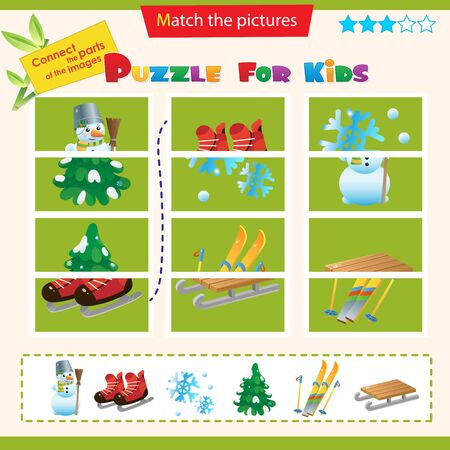 Matching game for children. Puzzle for kids. Match the right parts of the images. Winter leisure activities. Outdoor game. Ski and skates. Wood sledge. Snowman.