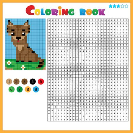 Cat. Color by numbers. Coloring book for kids. Colorful Puzzle Game for Children with answer. Ilustração