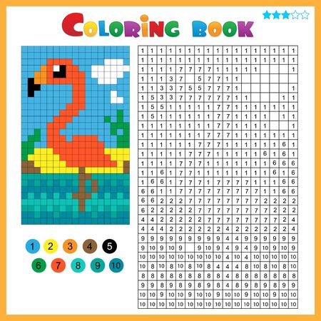 Flamingo. Color by numbers. Coloring book for kids. Colorful Puzzle Game for Children with answer.