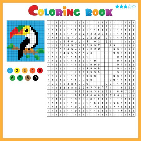 Toucan. Color by numbers. Coloring book for kids. Colorful Puzzle Game for Children with answer.
