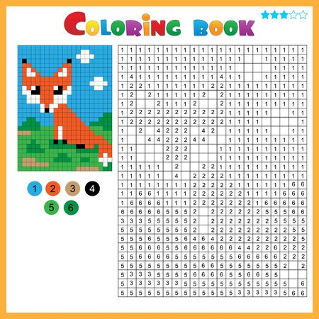 Fox. Color by numbers. Coloring book for kids. Colorful Puzzle Game for Children with answer.