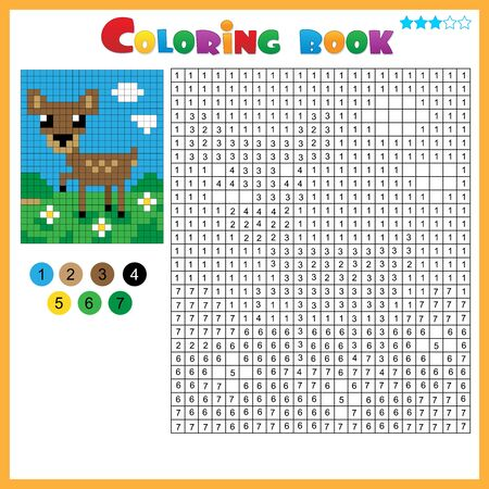 Fawn or deer. Color by numbers. Coloring book for kids. Colorful Puzzle Game for Children with answer.