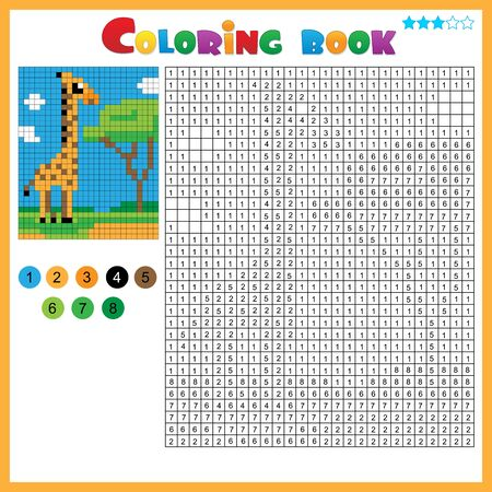 Giraffe. Color by numbers. Coloring book for kids. Colorful Puzzle Game for Children with answer.