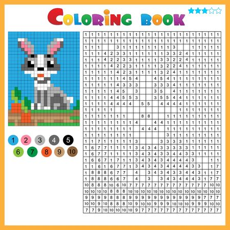 Rabbit or hare with carrot. Color by numbers. Coloring book for kids. Colorful Puzzle Game for Children with answer. Ilustracja