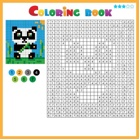 Panda. Color by numbers. Coloring book for kids. Colorful Puzzle Game for Children with answer.