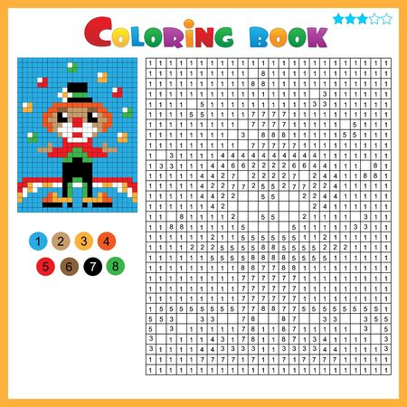 Clown. Color by numbers. Coloring book for kids. Colorful Puzzle Game for Children with answer.