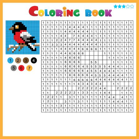 Bullfinch. Color by numbers. Coloring book for kids. Colorful Puzzle Game for Children with answer.