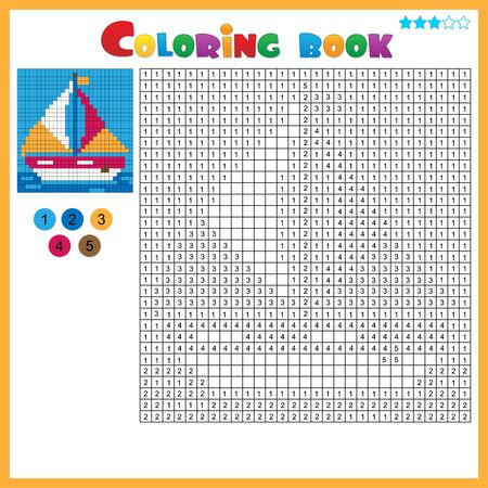 Ship or sailboat. Color by numbers. Coloring book for kids. Colorful Puzzle Game for Children with answer.