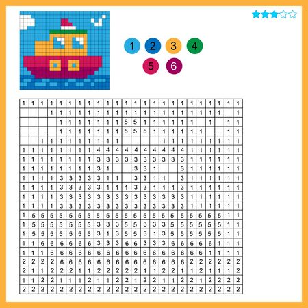Steamship. Color by numbers. Coloring book for kids. Colorful Puzzle Game for Children with answer.
