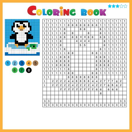 Penguin. Color by numbers. Coloring book for kids. Colorful Puzzle Game for Children with answer.