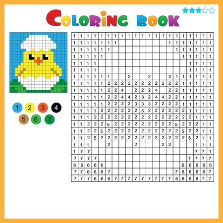Chick with egg. Color by numbers. Coloring book for kids. Colorful Puzzle Game for Children with answer. Ilustracja