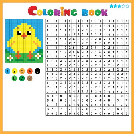Chick or chicken. Color by numbers. Coloring book for kids. Colorful Puzzle Game for Children with answer.